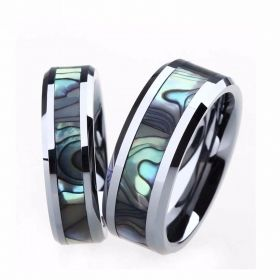 Matching Couples Abalone Shell Inlay Ring Set