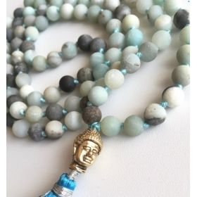 Blue Green Turquoise Buddhist Mala with Tassel