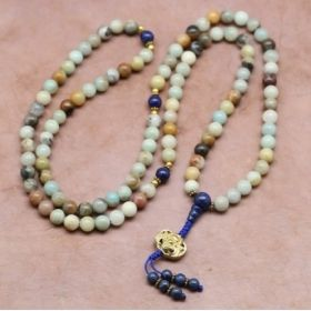 Earth & Sky Amazonite Mala with Lapis Spacers and Gold-Plated Brass Cheppu Pendant