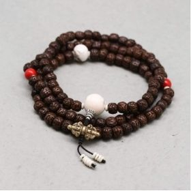 108 Rudraksha Seed Mala with Red Mountain Jade Spacers & Naga Shell Marker Beads and Coral Turquoise
