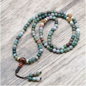 Multi-Colored Green Moss Agate Mala with Rudraksha Marker & Carnelian Guru Bead