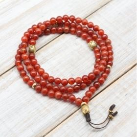 Orange Carnelian Buddha Prayer Bead Mala
