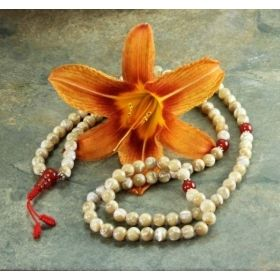 Earth-Toned Sand-Colored Mother of Pearl Tibetan Adjustable Snakeknot Mala with Carnelian Spacers