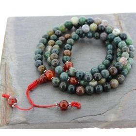 Fancy Green Jasper Mala with Carnelian & Gold Spacer Beads