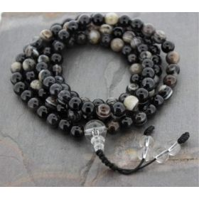 Black Striped Tibetan Agate Mala with Clear Beaded Snakeknot