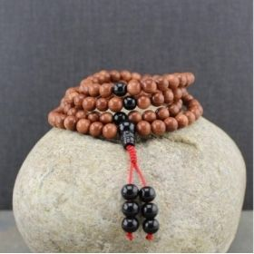 Brown Sunstone & Onyx Adjustable Snakeknot Mala