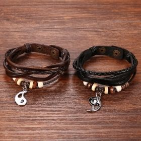 Matching Couples Yin Yang Charm Symbol Leather Bracelets