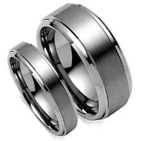 Silver Matte Brushed Center Matching Couples Tungsten Ring Set