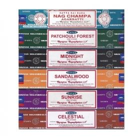Variety Incense 6 Pack - Nag Champa Sunrise Sandalwood Midnight Patchouli Celestial