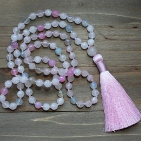 Pink & Light Blue Rose Quartz Tassel Buddhist Mala