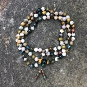 Rustic Multi-Colored Green & Ocean Jasper Adjustable Snakeknot Mala