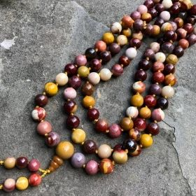 Red & Gold Moukaite Jasper Adjustable Snakeknot Mala