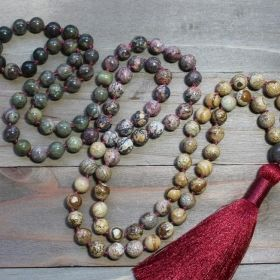 Three Jasper Boho Mala with Burgundy Red Tassel