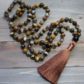 Brown Zebra Jasper & Smoky Quartz Mala
