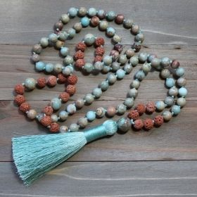 African Turquoise & Red Lava Tassel Mala