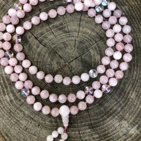 Pink Rose Quartz Adjustable Snakeknot Mala