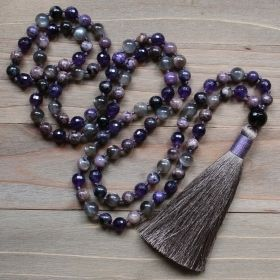 Purple Amethyst, Black Moonstone & Charoite Mala