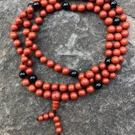 Red Jasper & Black Onyx Adjustable Snakeknot Mala