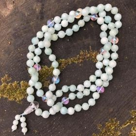 White Amazonite & Crystal Quartz Adjustable Mala